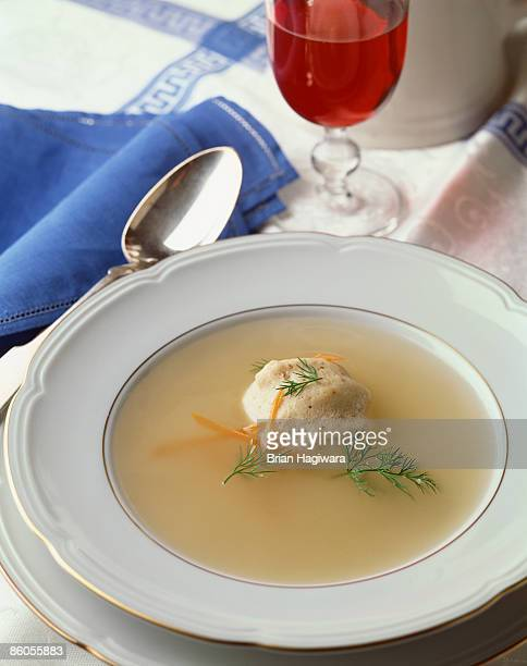 Matzo ball soup with red wine