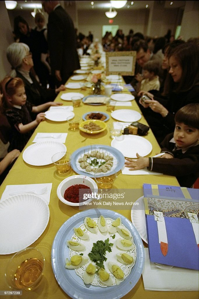 Matzo, wine, charoset, eggs, and macaroons are on the table  : News Photo