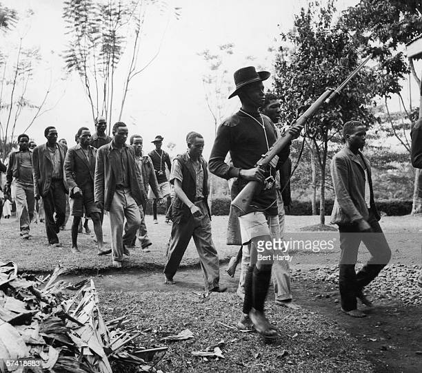 Mau Mau terrorist suspects being escorted to the cells by Kenyan policemen during the Mau Mau Uprising 29th November 1952 Original Publication...