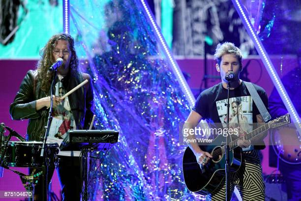 Mau y Ricky perform onstage at the 18th Annual Latin Grammy Awards at MGM Grand Garden Arena on November 16 2017 in Las Vegas Nevada