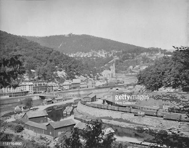 Mauch Chunk Pennsylvania showing Mount Pisgah' circa 1897 The Mauch Chunk and Summit railroad operated between 1828 and 1932 delivering coal to...