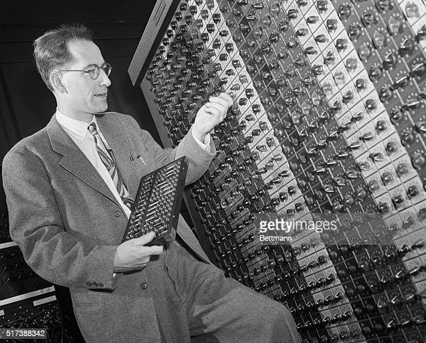 JW Mauchly chief engineer of the Electronic Numerical Integrator and Computer the first generalpurpose electronic digital computer prepares the...