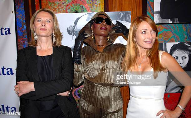 Maud Adams Grace Jones and Jane Seymour during Shaken Not Stirred Bond Girls Reunite to Celebrate Delta Airlines Newest International Route Between...