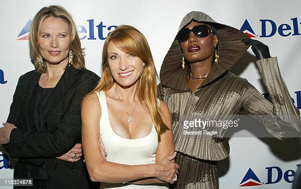 Maud Adams Jane Seymour and Grace Jones during Shaken Not Stirred Bond Girls Reunite to Celebrate Delta Airlines' Newest International Route Between...