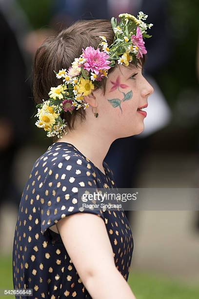 Maud Angelica Behn attends a garden party during the Royal Silver Jubilee Tour on June 23 2016 in Trondheim Norway