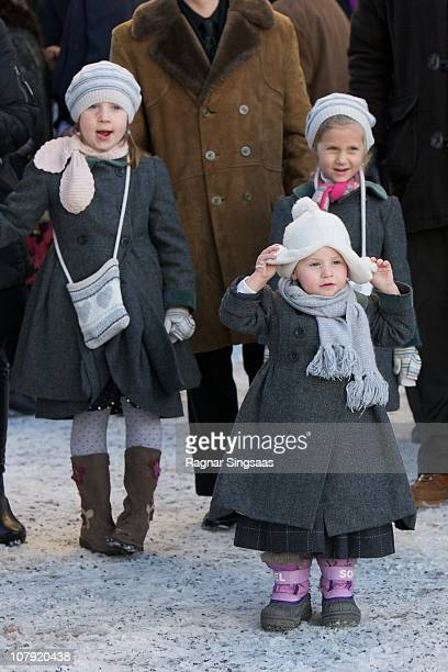 Maud Angelica Behn Emma Tallulah Behn and Leah Isadora Behn attend the funeral of AnneMarie Solberg grandmother of Ari Behn at Immanuels Kirke on...