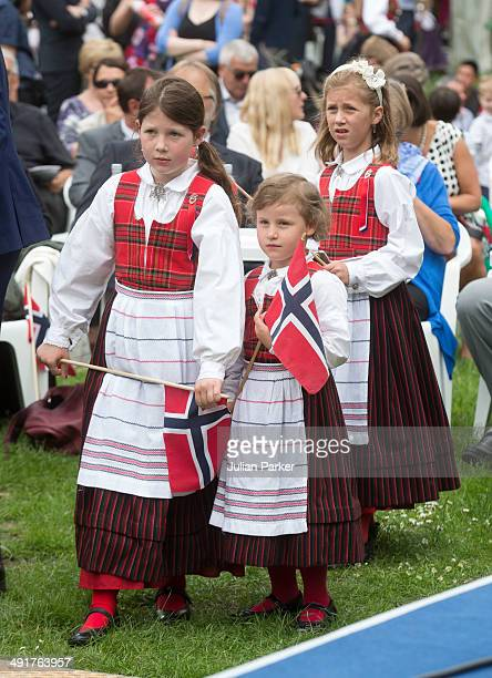 Maud Angelica Behn Emma Tallulah Behn and Leah Isadora Behn the Daughters of Princess Martha Louise of Norway attend celebrations for Norway National...
