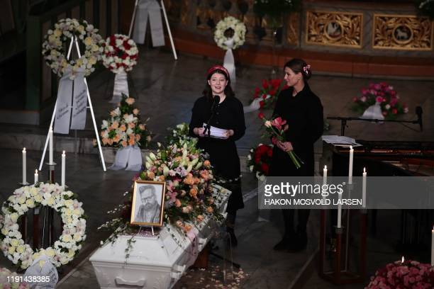 Maud Angelica Behn speaks next to her mother, princess Martha Louise of Norway during the funeral of her father Ari Behn at Oslo Cathedral on January...
