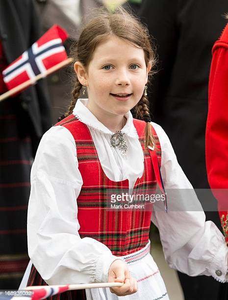 Maud Angelica takes part in a parade in Southwark Park as she celebrates Norway National Day on May 17 2013 in London England