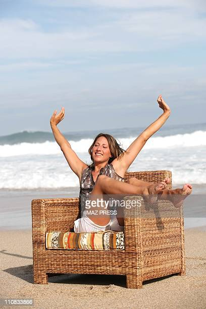 Maud Fontenoy Poses For A Photoshoot Session On The Beach Of Boucan Canot In France On March 16 2007 SaintGilles of the Reunion The following day of...
