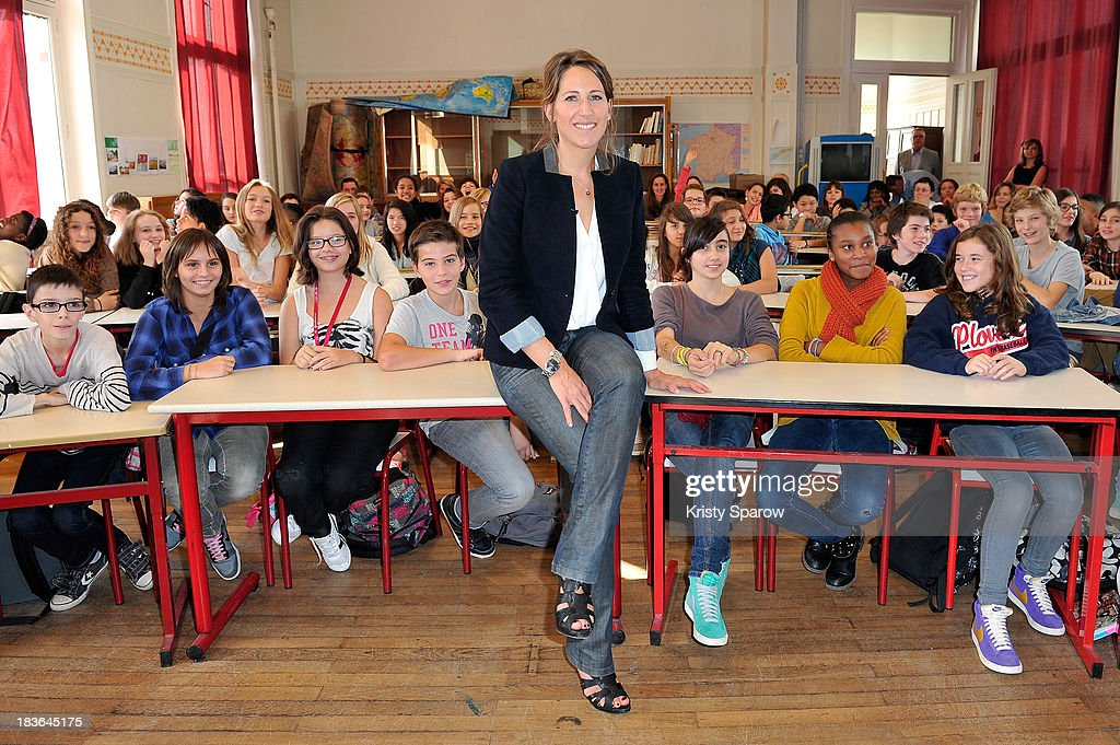 Maud Fontenoy Launches Teaching Equipment For Children At Lycee Jules Ferry In Paris