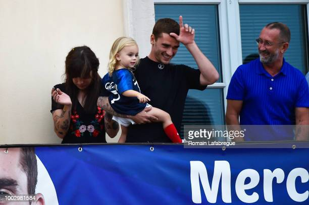 Maud Griezmann sister of Antoine Antoine Griezmann and Alain Griezmann father of Antoine celebrates France victory in World Cup in his hometown on...