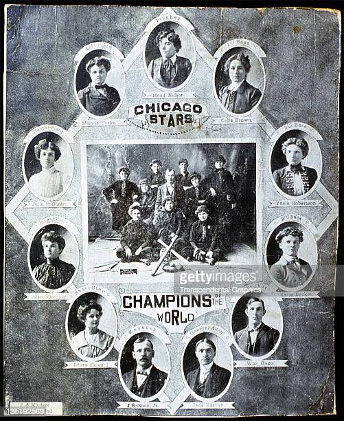 Maud Nelson the star female baseball pitcher is in the top position in a photographic collage promoting the Chicago Stars Baseball Club in Chicago...