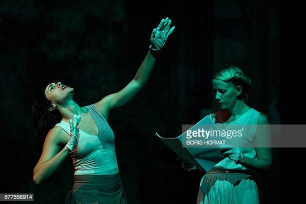 Maud Pizon and Clara Le Picard perform during a rehearsal of the play 'Of Imagination' written and directed by Clara Le Picard on July 18 2016 at the...