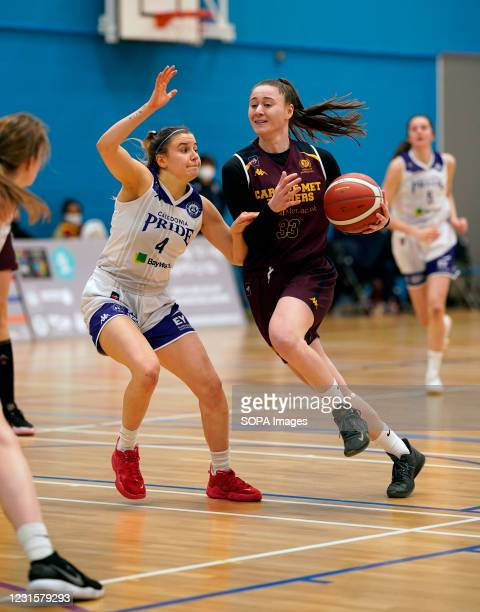 Maud Ranger Marlee Ball are seen in action during the Women's British Basketball League match between WBBL Cardiff Archers and Caledonia Pride at...