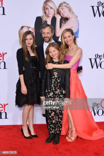 Maude Apatow filmmaker Judd Apatow Iris Apatow and actress Leslie Mann attend the premiere of Twentieth Century Fox's The Other Woman at Regency...