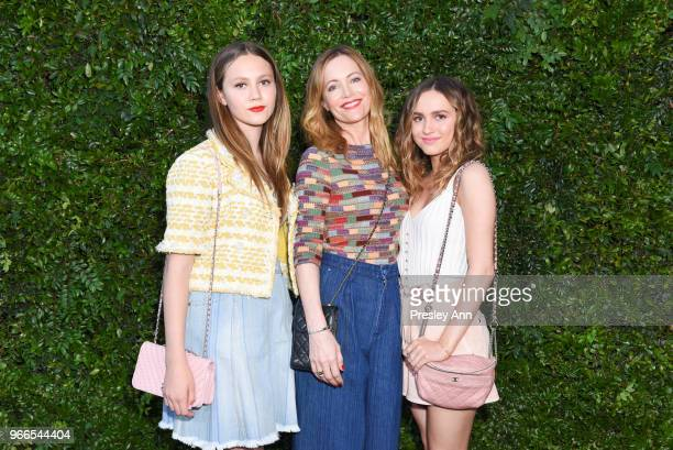 Maude Apatow Leslie Mann and Iris Apatow attend CHANEL Dinner Celebrating Our Majestic Oceans A Benefit For NRDC on June 2 2018 in Malibu California