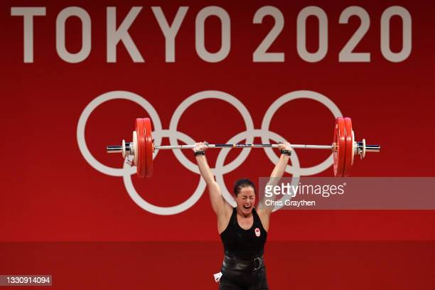 Maude G Charron of Team Canada competes during the Weightlifting - Women's 64kg Group A on day four of the Tokyo 2020 Olympic Games at Tokyo...