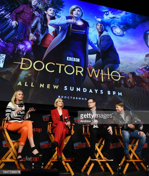 Maude Garrett, Jodie Whittaker, Chris Chibnall, and Matt Strevens speak onstage at the DOCTOR WHO panel during New York Comic Con in The Hulu Theater...