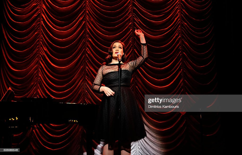 Maude Maggart performs at Marc Jacobs Beauty Velvet Noir Mascara Launch Dinner at Hotel Wolcott Ballroom on January 18, 2016 in New York City.