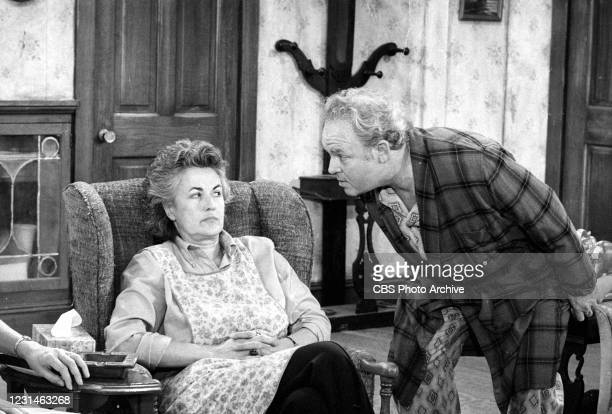 """Maude visits with Archie Bunker in the 'Cousin Maude's Visit' episode of the CBS television series """"All In The Family."""""""