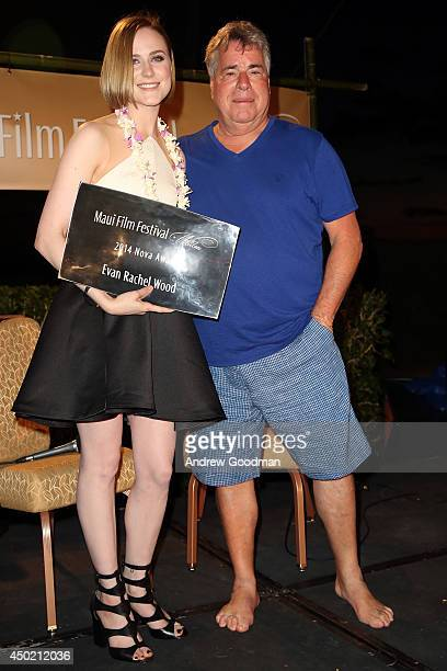 Maui Film Festival Nova Award recipient Evan Rachel Wood and Barry Rivers on stage at the 2014 Maui Film Festival at Wailea on June 5 2014 in Wailea...