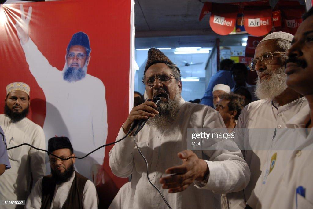 Maulana Sayed Ather Ali, Samajwadi Party candidate from Mumbai South, at a campaign meeting in Mumbai.