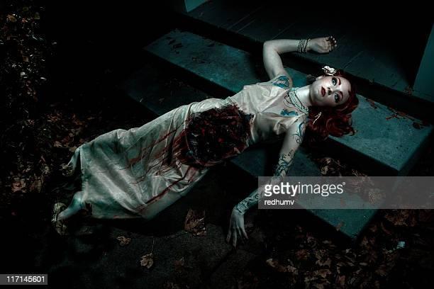 Mauled dead woman on steps