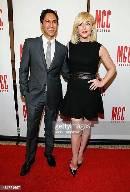 Maulik Pancholy and Jane Krakowski attend Miscast 2014 at Hammerstein Ballroom on March 31 2014 in New York City