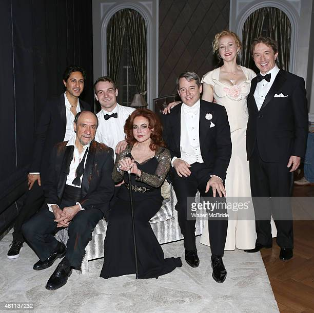 Maulik Pancholy F Murray Abraham Micah Stock Stockard Channing Matthew Broderick Katie Finneran and Martin Short backstage after a performance of...