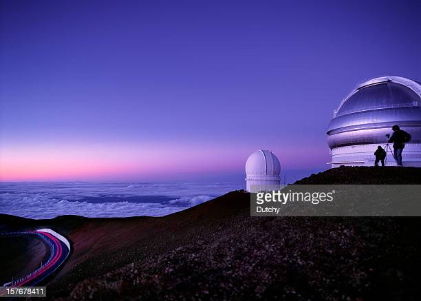 Mauna Kea observatories at dusk, Hawaii.