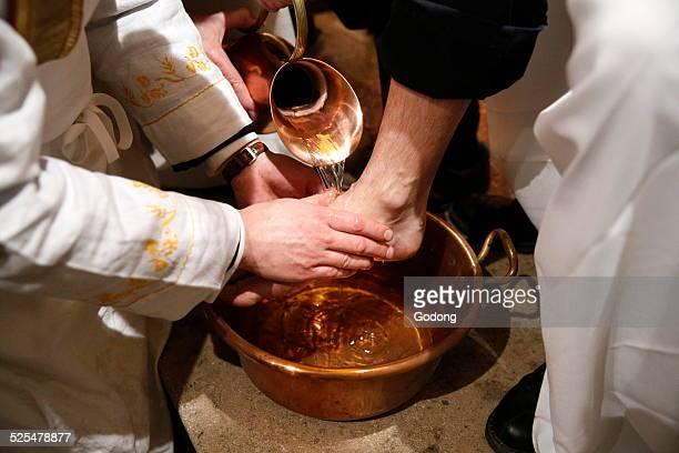 Maundy thursday celebration, Washing of the Feet.