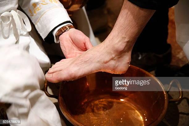 Maundy thursday celebration Washing of the Feet