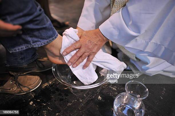 Maundy thursday foot wash in a catholic church