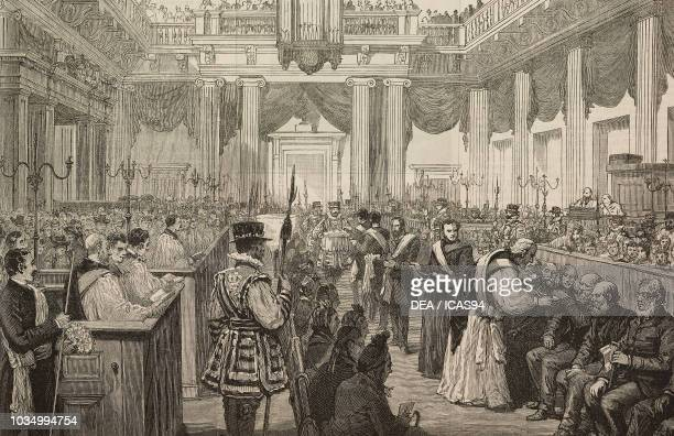 Maundy Thursday Royal gifts at the Chapel Royal Whitehall United Kingdom engraving from The Illustrated London News volume 96 No 2660 April 12 1890