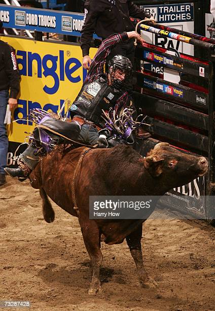 J B Mauney attempts a ride during Round 2 of the PBR Amp'd Mobile Invitational at the Honda Center on February 10 2007 in Anaheim California