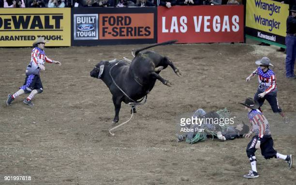 B Mauney is bucked off Mr Miller during day 2 of the Monster Energy Buck Off at the Garden at Madison Square Garden on January 6 2018 in New York City