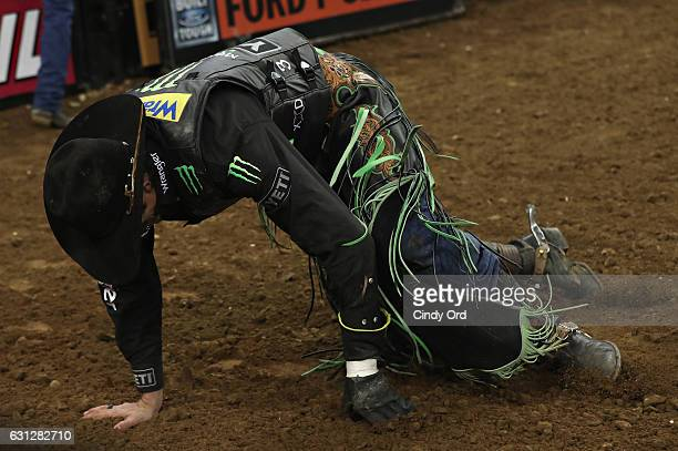 B Mauney is injured during the 2017 Professional Bull Riders Monster Energy Buck Off At The Garden at Madison Square Garden on January 8 2017 in New...