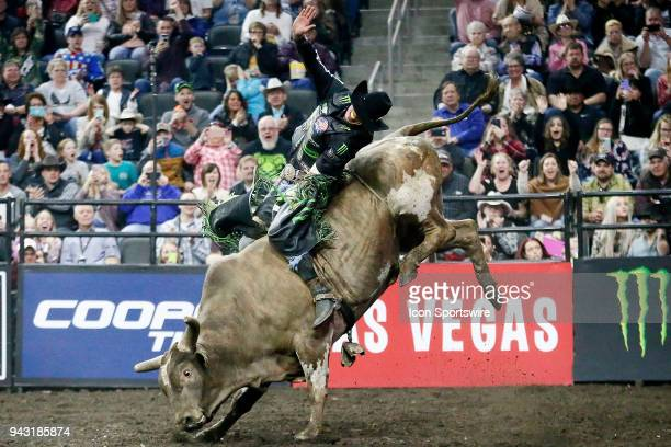 B Mauney rides bull Rocketman during round two of the 25th Professional Bull Riders Unleash The Beast on April 7 at Denny Sanford Premier Center...