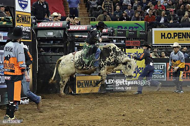 B Mauney rides during the 2017 Professional Bull Riders Monster Energy Buck Off at the Garden at Madison Square Garden on January 6 2017 in New York...
