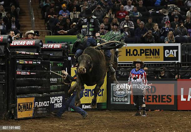 B Mauney rides during the 2017 Professional Bull Riders Monster Energy Buck Off At The Garden at Madison Square Garden on January 7 2017 in New York...