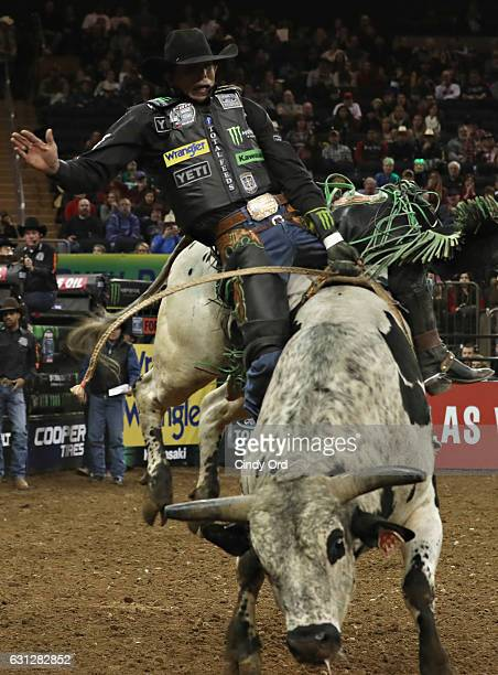 B Mauney rides during the 2017 Professional Bull Riders Monster Energy Buck Off At The Garden at Madison Square Garden on January 8 2017 in New York...