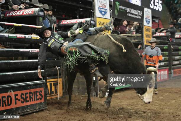 B Mauney rides Shownuff during the 2018 Professional Bull Riders Monster Energy Buck Off at the Garden at Madison Square Garden on January 7 2018 in...