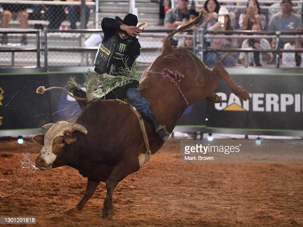 Mauney rides Troll during the PBR Unleash The Beast bull riding event at Okeechobee Agri-Civic Center on January 31, 2021 in Okeechobee, Florida.