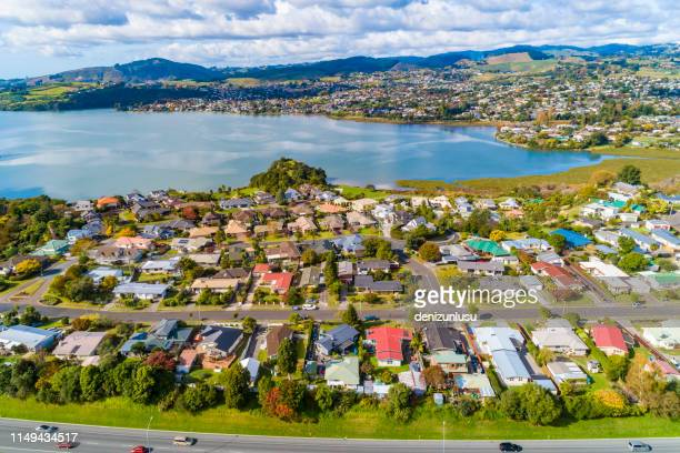 maungatapu aerial view - bay of plenty stock pictures, royalty-free photos & images