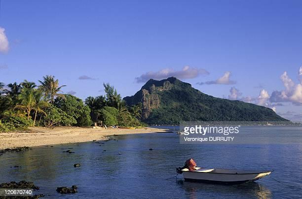 Maupiti island viewed from Motu Tiapa'a Society archipelago in Maupiti French Polynesia