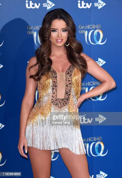 Maura Higgins attends the Dancing On Ice 2019 photocall at the Dancing On Ice Studio ITV Studios Old Bovingdon Airfield on December 09 2019 in...
