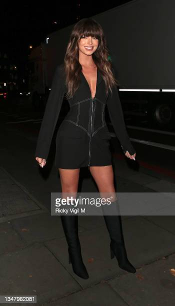 Maura Higgins seen attending Beauty Works x Molly-Mae - Christmas product launch party at One Marylebone on October 21, 2021 in London, England.