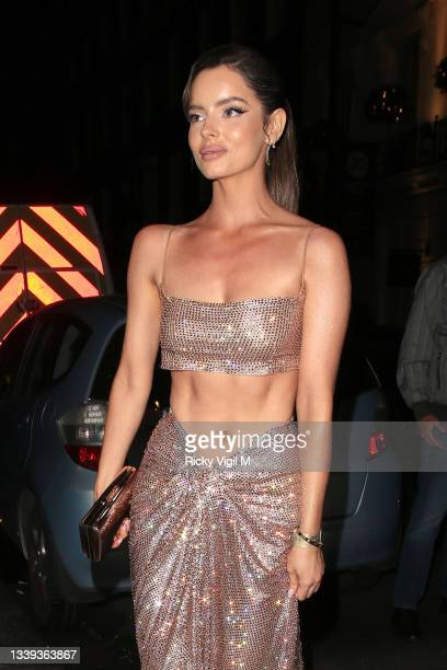 Maura Higgins seen attending National Television Awards 2021 afterparty at Bagatelle in Mayfair on September 09, 2021 in London, England.