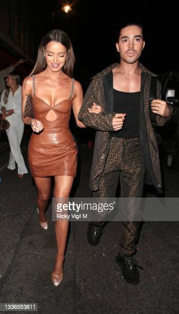 Maura Higgins seen attending PrettyLittleThing by Molly Mae - launch party at Novikov on August 26, 2021 in London, England.